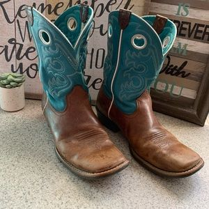 Ariat Teal Square Toe Cowboy Boots